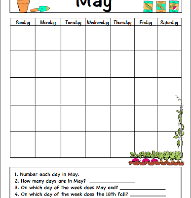 May Calendar for Kids (Free Printable)