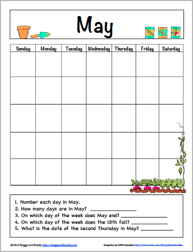 May Learning Calendar for Kids (Free Printable PDF)~ Buggy and Buddy