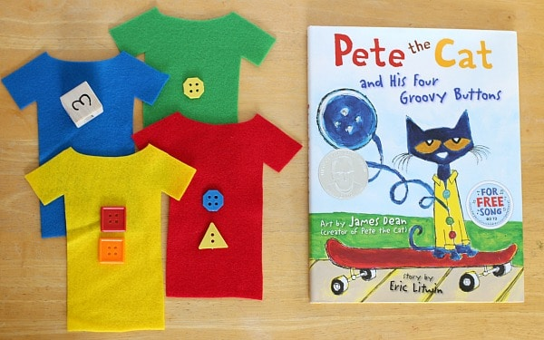Subtraction math game inspired by the book, Pete the Cat and His Four Groovy Buttons