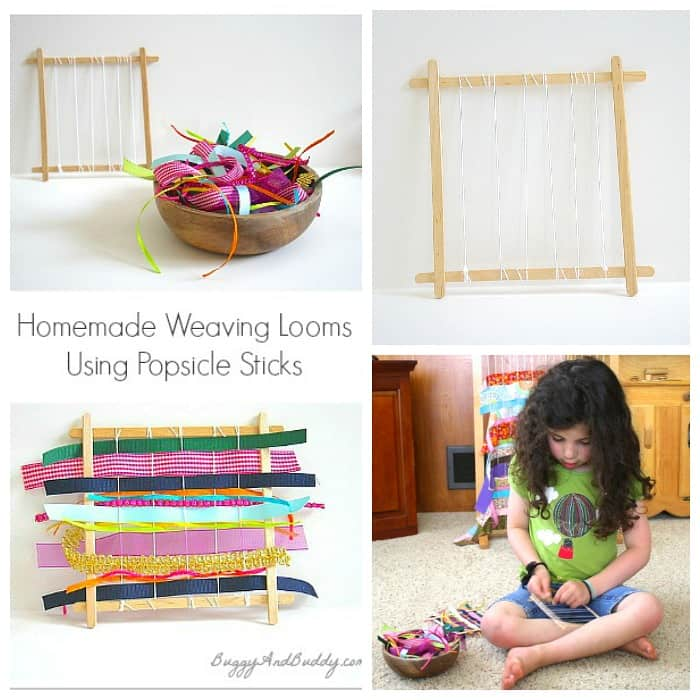 make a weaving loom using popsicle sticks