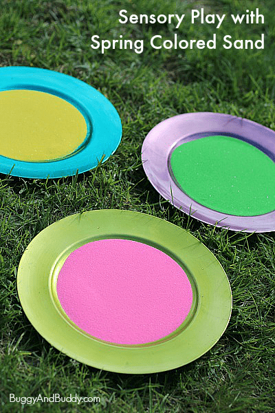 Sensory Play with Spring Colored Sand~ Buggy and Buddy