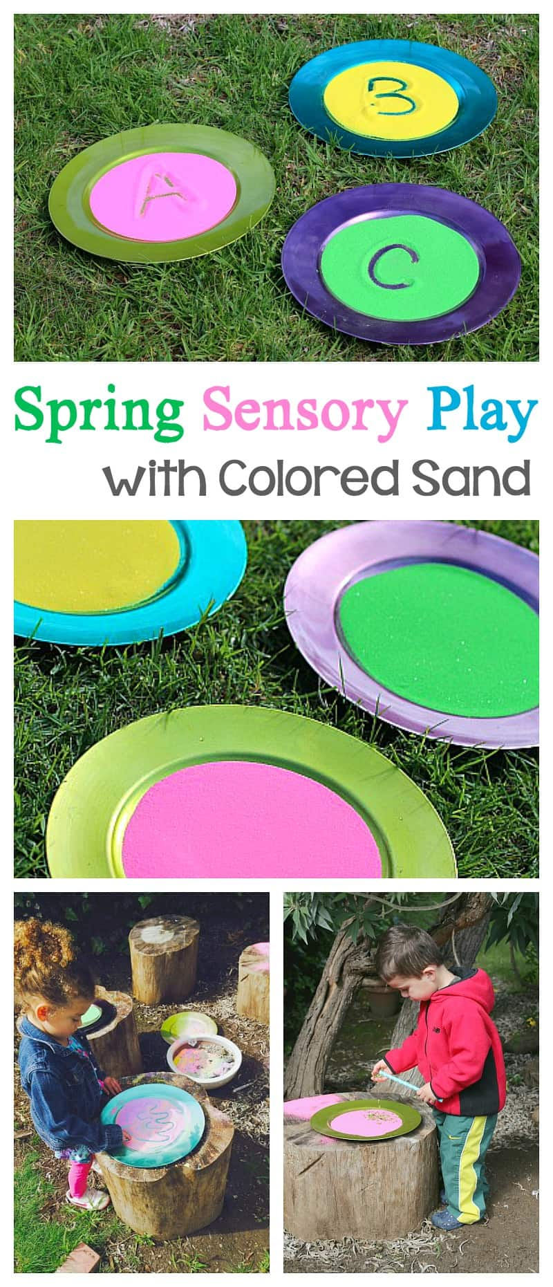 Sensory Play with Spring Colored Sand! Fun way for toddlers and preschoolers to practice writing letters (ABC's) or just doodle! Great fine motor practice too! ~ BuggyandBuddy.com