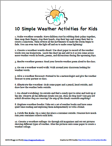 Free Printable PDF: 10 Simple Weather Activities for Kids