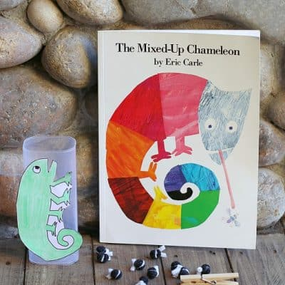 Fine Motor and Math Game for The Mixed Up Chameleon by Eric Carle