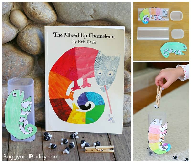 Fine Motor and Counting Game for Kids Based on Eric Carle's The Mixed Up Chameleon (w/ Free Template) ~ BuggyandBuddy.com