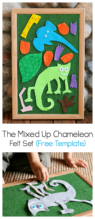 The Mixed Up Chameleon Felt Set (Free Pattern) - Buggy and Buddy