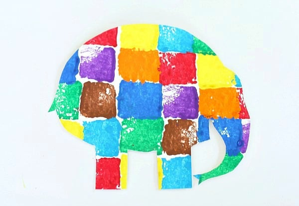 elmer the elephant sponge painted art