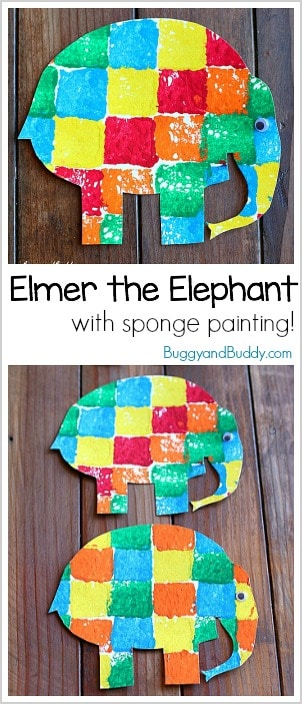 Elmer the Elephant Sponge Painting Art Activity for Preschool and Kindergarten! Fun way to practice patterns through creativity. Includes a free printable elephant.
