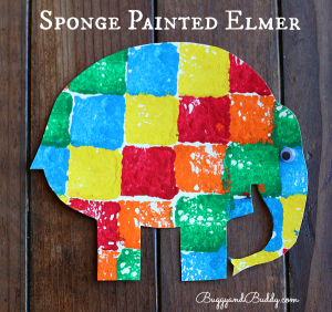Sponge Painted Elmer the Elephant