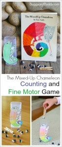 Fine Motor and Counting Game for Kids Based on Eric Carle's The Mixed Up Chameleon w/ Free Template