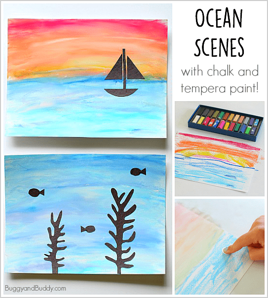 Cool Ocean Scene Art Project for Kids using tempera paint and chalk! Perfect for a unit on sea life! ~ BuggyandBuddy.com