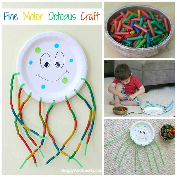 fine motor octopus craft for kids using a paper plate