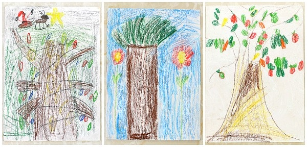 Art for Kids: Trees Sketched on Wood Panels