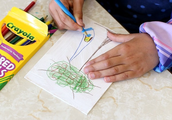 kids sketching trees on wood panels with colored pencils