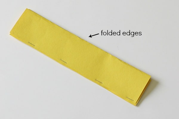 staple strips together along open edge