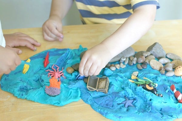 playing with ocean playdough