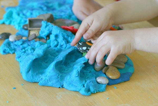 making ocean waves with homemade playdough