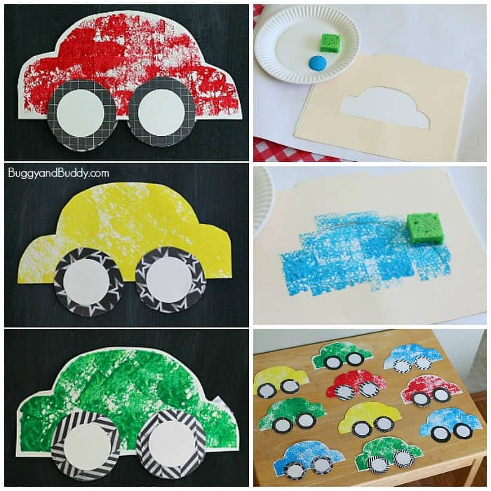 sponge painted car craft for kids with free car template