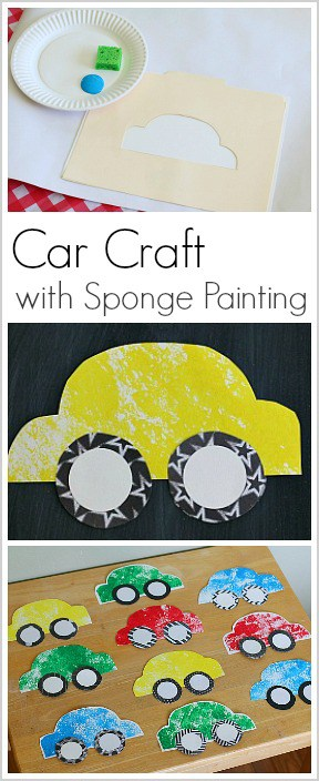 car craft for kids made with sponge painting