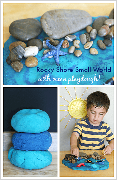 Rocky Shore Small World with Ocean Playdough~ Buggy and Buddy