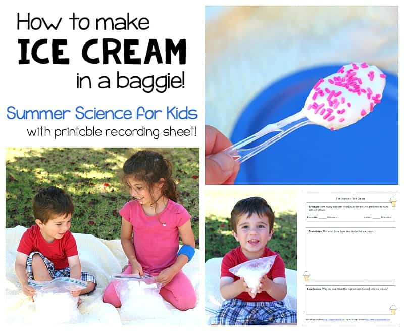 Summer Science for Kids: How to Make Ice Cream in a Baggie! with printable recording sheet