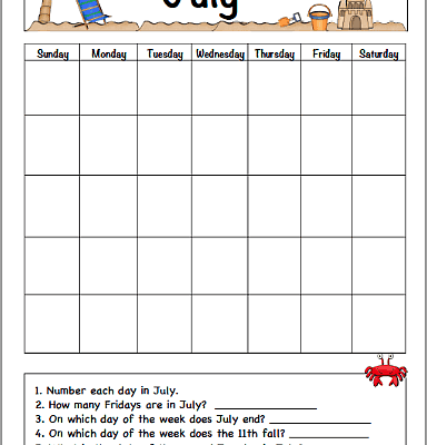 July Calendar for Kids (Free Printable)