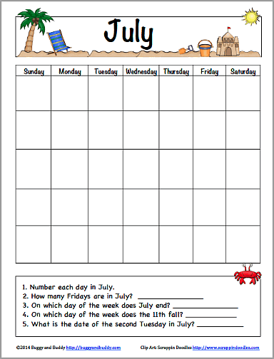 image relating to Free Printable July Calendar called July Calendar for Children (No cost Printable) - Buggy and Close friend