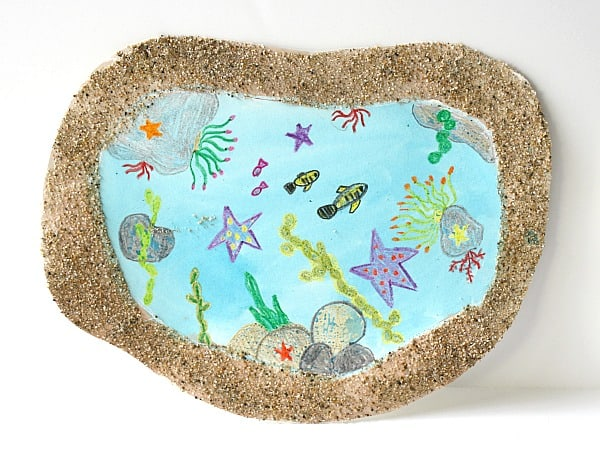 Tide pool art for kids using real sand! ~ Buggy and Buddy