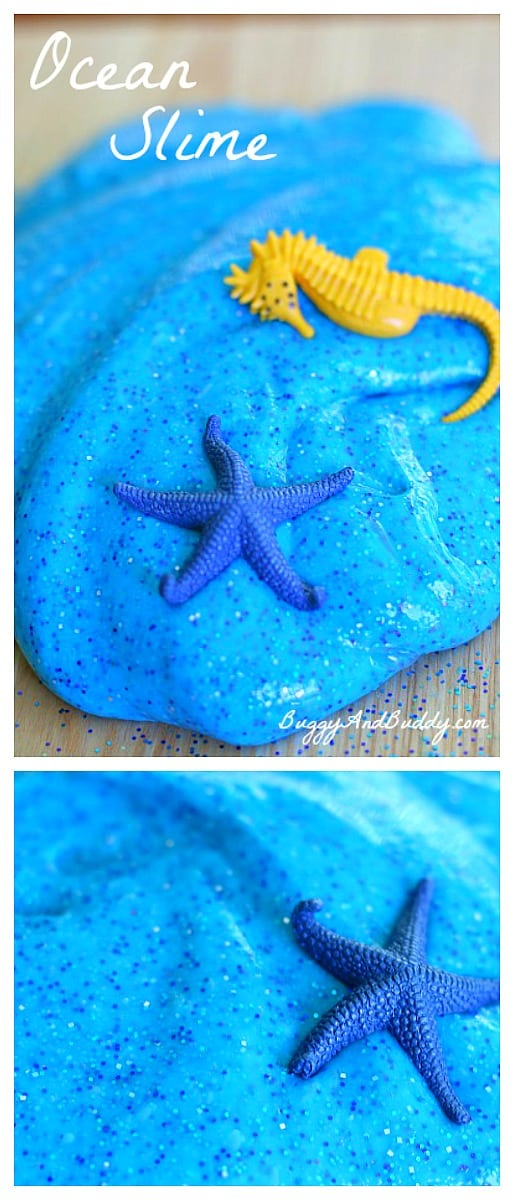 How to Make Ocean Slime (Recipe)- Fun sensory activity and small world play for summer or a unit on sea life! ~ BuggyandBuddy.com