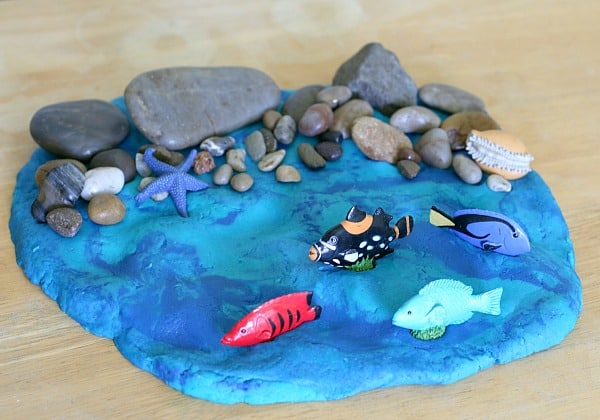 Rocky Shore Small World with Ocean Playdough