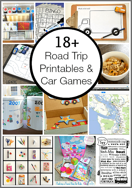 18 road trip printables and car games including activity bins travel games snack