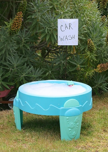 toy car wash in water table