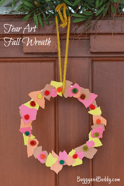 Fall crafts for kids tear art fall wreath buggy and buddy for Simple fall crafts for kids