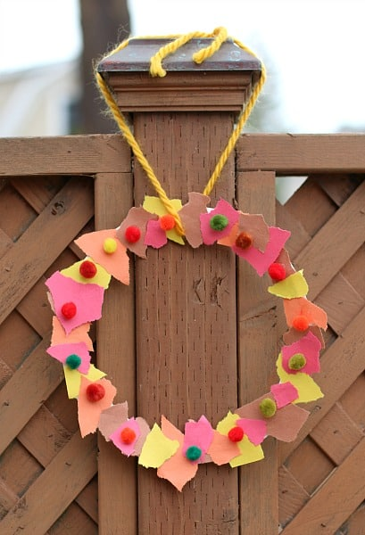 Fall Crafts For Kids Tear Art Wreath