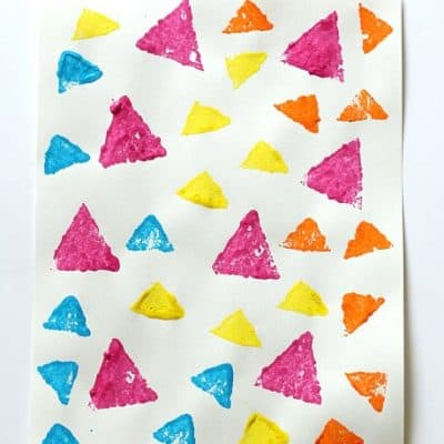 Learning Shapes: Sponge Stamped Triangle Collage