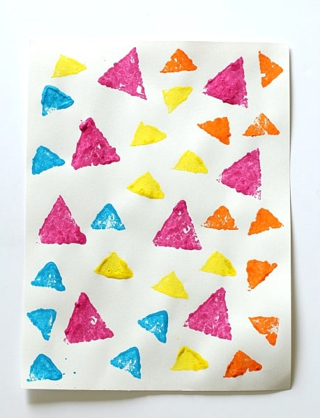 Learning Shapes Activity: Sponge Stamped Triangle Collage~ Buggy and Buddy