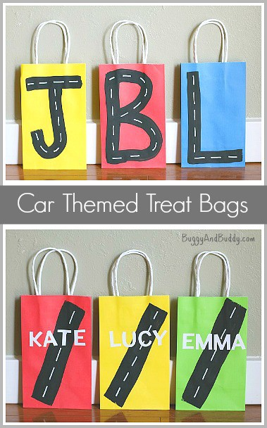 Super Easy Treat Bags for a Car Themed Birthday Party~ Buggy and Buddy