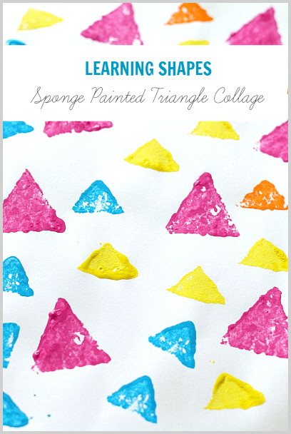 Learning Shapes Activity: Sponge Stamped Triangle Collage~Buggy and Buddy