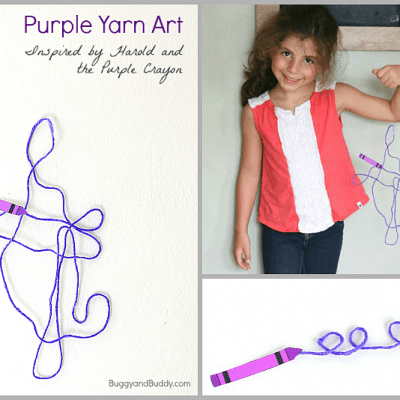 Yarn Art Inspired by Harold and the Purple Crayon
