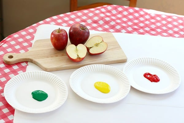 materials for making math patterns with apple prints