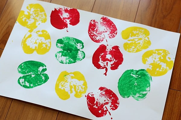 fall art for kids: apple print collage