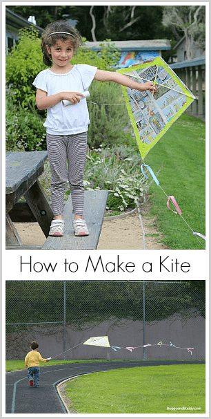 Science for Kids: How to make a kite using newspaper or garbage (trash) bags and wooden dowels! Fun family STEM / STEAM activity for spring and summer! ~ BuggyandBuddy.com
