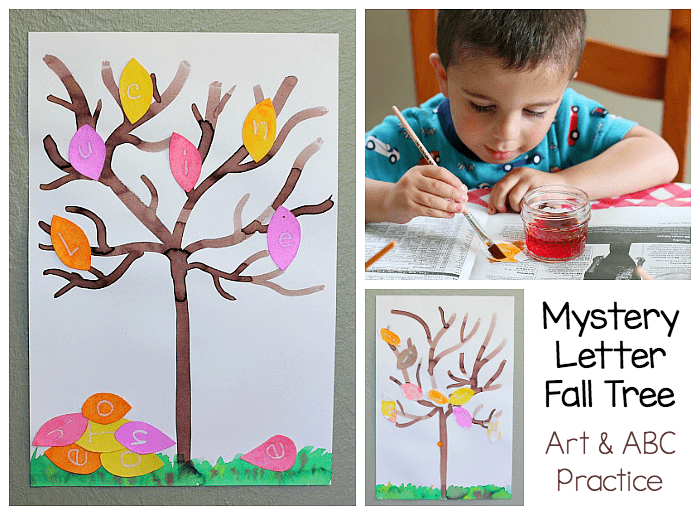 mystery letter fall tree art and ABC activity for kids