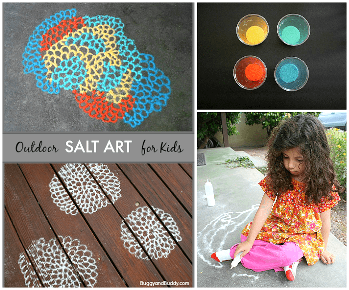 Outdoor Process Art for Kids Using Colored Salt- Head outside and create all kinds of patterns, designs, and pictures using colored salt! Perfect for preschool and on up!