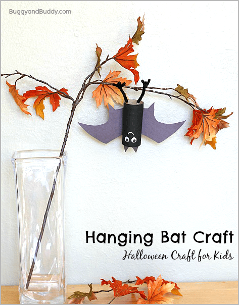 perfect halloween craft for kids hanging bat craft buggyandbuddycom - Halloween Bats Crafts
