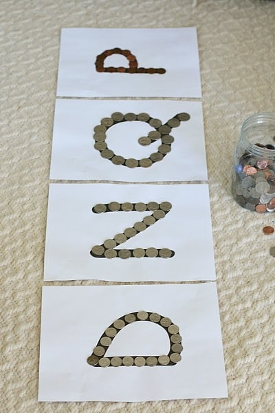 coin sorting activity for kids using letters