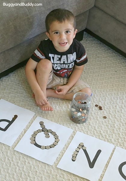 Sorting Coins Using Beginning Letter Sounds~ BuggyandBuddy.com