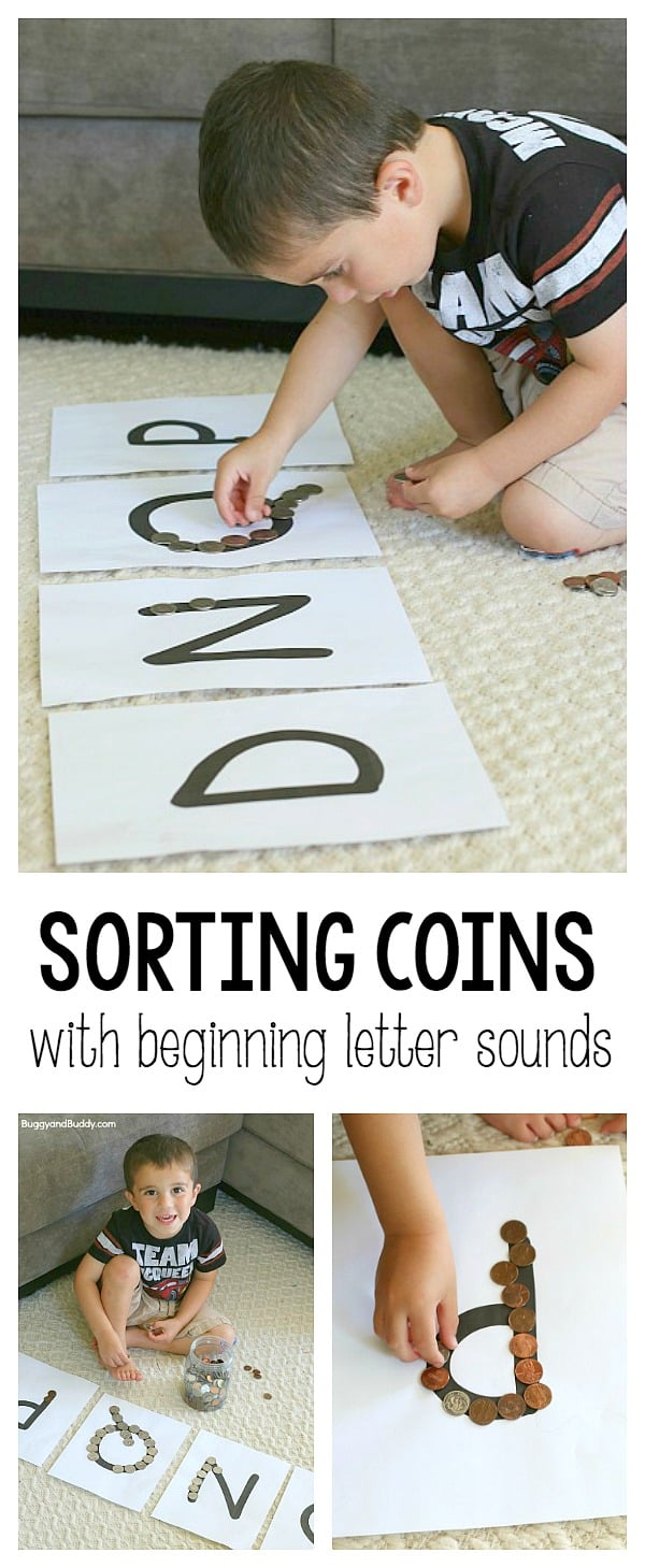 Money math for kids: Sorting coins with beginning letter sounds