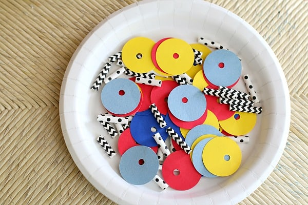 Materials for Press Here Necklace Craft Activity for Kids