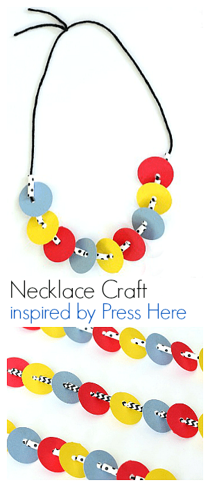 Necklace Fine Motor Craft inspired by the book Press Here